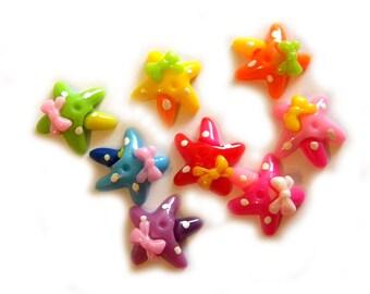 6 Starfish Flatbacks - Resin Cabochons