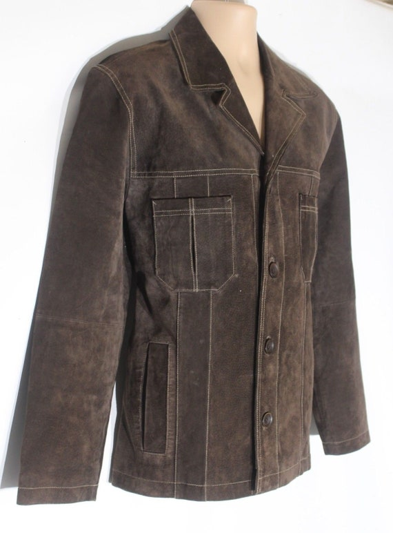 Leather Real Coat Length 100 Suede M Hip Men's Fitted BAMBOO Vintage Jacket Size Brown nwPqxT08Y