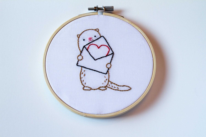 5 Otter mit Liebe beachten Sie Hand Stickrahmen Kunst