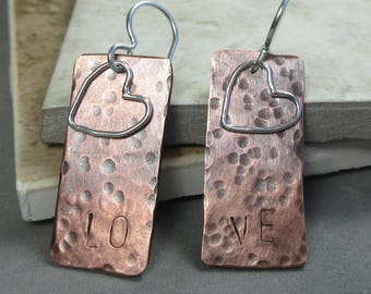 Copper Sterling Silver Earrings, Mixed Metal Jewelry, Love Earrings, Sterling Silver Heart Earrings W Copper, Gift for Mom, Girlfriend Gift