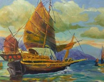Vintage Oil Painting Seascape Coastal Landscape Chinese Junque Sailboat Nautical