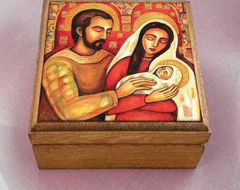 Holy Family box, Christmas Nativity box, Virgin Mary and Jesus, mother and child, mother box, christian box, jewelry box, 3.5x3.5+