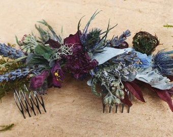 Custom half crown, dried flower half crown, dried flower crown, dried flower comb, navy blue comb, thistle comb, burgundy half crown, rose