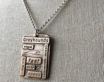 Greyhounds Large Word Quilt Bronze Pendant With Sterling Silver Necklace - Greyhound - Made to Order