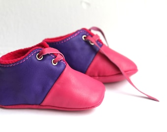 SALES 2-3 years Slippers / Baby Shoes Lamb Leather OwO SHOES Pink Purple