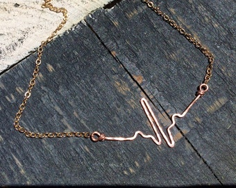 Heartbeat necklace hammered in copper on copper chain,  nurses, doctor, healthy heart beat necklace, nurse jewelry , Copper heartbeat