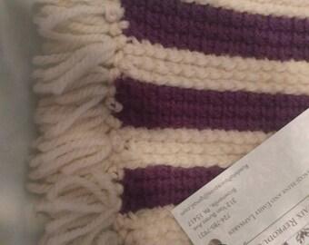Tunisian crochet scarf, purple and cream