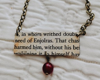 Les Miserables bookpage necklace (Enjolras, Grantaire)