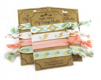 Beach Babe Hair Ties Set - Pastel Hair Tie Gift Set - Gold Foil Hair Ties - Party Favors - Birthday Favors - Mermaid Hairties