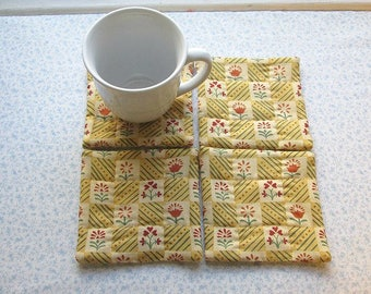 gold country flowers vintage fabric hand quilted set of mug rugs coasters