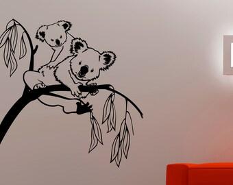 Koala Wall Decal Animal Stickers Home Wall Decor Living Room Wall Art Dorm Room Decor Vinyl Art Mural Removable Stickers 3kozz