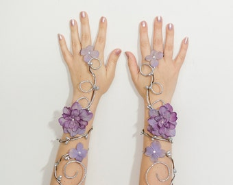 Silver and lavender fairy arm cuffs