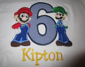 Mario Brother Applique Birthday Shirt
