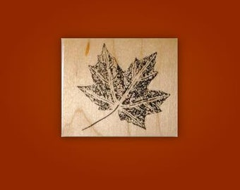 Maple Leaf mounted rubber stamp, Autumn, Canada, nature, Fall, Sweet Grass Stamps No.1