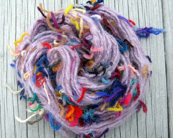 Handspun Art Yarn, Softspun Mohair & Wool, Purple with a Riot of Colorful Tails! - Knit, Crochet, Weave, Felt, Crafts