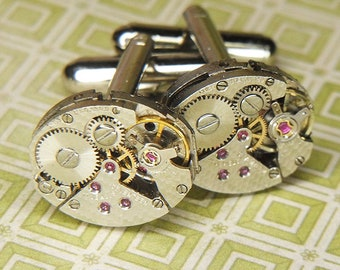 Watch Cufflinks Steampunk Cuff Links - Torch SOLDERED - Vintage Silver Oval  Movements w Cool Surface Texture - Birthday Anniversary Gift
