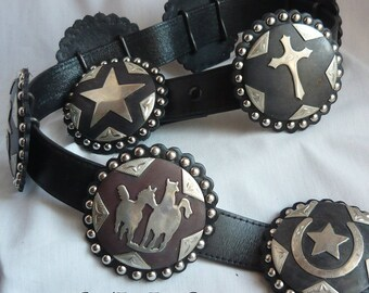 The ULTIMATE Western Belt w Eight GIANT Slides Removable Buckle / waist 35  to 40 inch / Wide Black Leather Metal Conch Handmade