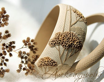Beige bracelet set branch bangle polymer clay beige bangle bracelet wide bracelet fall bracelet chunky bangle set