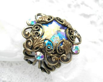 Victorian Style Swarovksi Rivoli Crystal Aurora Borealis Ring Antiqued Brass Filigree Ring- Morning Glory Designs