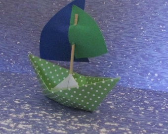 paper boat sail boat Green white polka dots navy flag sail party favor photo prop cake topper cupcake beach cottage