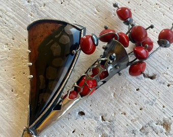 Dispersal Brooch of Sterling Silver, Obsidian and Red Acacia Seeds