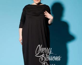 Plus size kaftan/ Plus size dress/ Plus size black dress/ Plus size maxi dress/ Plus size elegant dress/ Plus size long sleeve dress/056.292