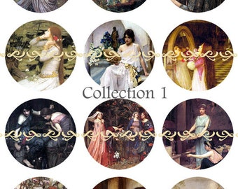 """Waterhouse Pins, Magnets or Flat Back Buttons, 1 inch, 1.25 inch, 2.25"""" inch, Choose your Design, John Williams Waterhouse, Famous Paintings"""