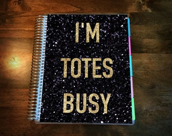 Totes Busy Laminated Planner Cover for Erin Condren Life Planner, Plum Paper Planner or Happy Planner