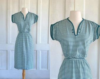 80s Striped V Neck Green White Wiggle Dress Knit Batwing Cap Sleeve Dress