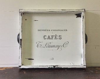 Farmhouse Wooden Tray with French Graphic