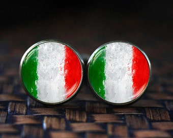 Flag of Italy cufflinks, Italian Flag cufflinks, Country Flag, Italy Patriotic gift,