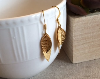 Gold Leaf Earrings, Small Leaf Earrings, Dangle Earrings, Large Leaf Earrings, Gold Earrings