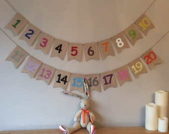 Childrens Bedroom Nursery Colours & Counting Bunting Banner 1-20