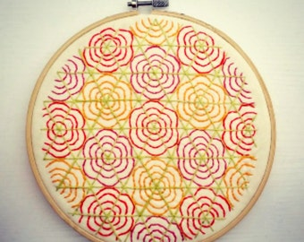 Geometric Flowers in Pink, Orange, Red, Lime Green Embroidery, Hoop Art, Embroidery Art, Hand-Stitched Embroidery, Abstract, 7 inch Hoop