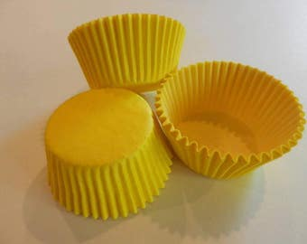 48 Bright Yellow Cupcake Liners Wrappers Baking Supplies Jenuine Crafts