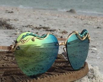 SAGE Green & Gold Wire Wrap Reflective HEART Sunglasses Eyewear Sunnies / Hippie Boho Festival EDC Electric Forest Bonnaroo Glasses / New