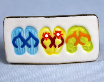 Flip Flop Brooch Handmade Porcelain Ceramic Jewelry