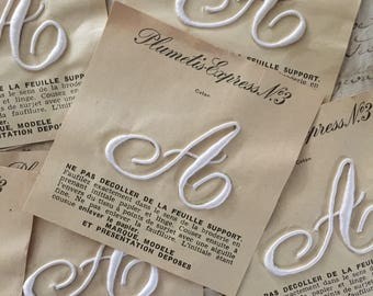 A' French Antique Monogram 'Plumetis Express No3' New Old Stock