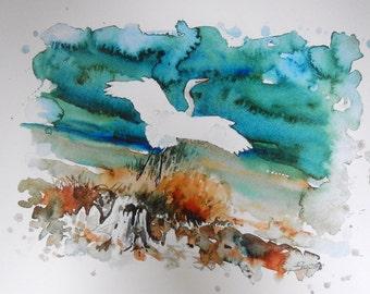 """Fine art print of Snowy egret in flight, """"Graceful"""" by Patrick Soper"""