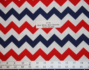 Riley Blake Red and Blue Chevron Cotton Fabric  Chevron Cotton fabric quilting sewing crafts clothing fabric store free shipping available