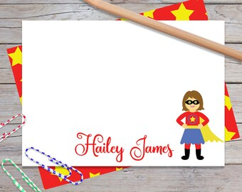 Personalized Notecards, Superhero Girl Thank You Cards, Stationery Set for Girls, Kids Stationary, Fun Super Hero Birthday Gift (1708-003FL)