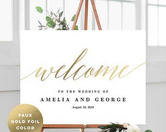 3 Sizes Wedding Welcome Sign Poster - Editable PDF Template Instant Download - Modern Script #MSC Faux Gold Foil