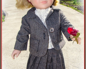 "Wool Business Suit for American Girl Doll or 18"" Doll with RePurposed Real Leather Loafers! Madame Alexander, Journey Girls, Gotz, My Life."