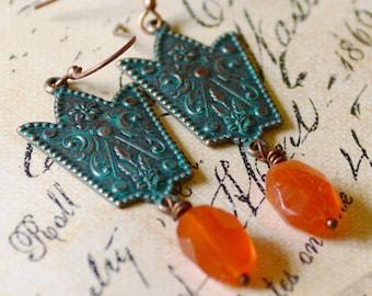 Fall Carnelian Earrings, Verdigris Patina Earrings, Orange Earrings, Green Earrings, Medieval Earrings Renaissance Jewelry, Copper Earrings