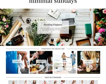 "Wordpress Theme ""Minimal Sundays"" // Responsive Magazine Style Premade Wordpress Design"