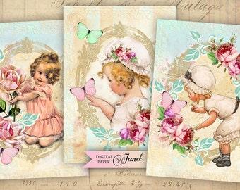 Hello - digital collage sheet - set of 4 cards - Printable Download