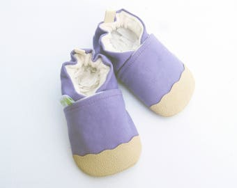 Organic Vegan Heavy Canvas Lavender and Tan / non-slip soft sole baby shoes / Made to Order / Babies Toddler Preschool