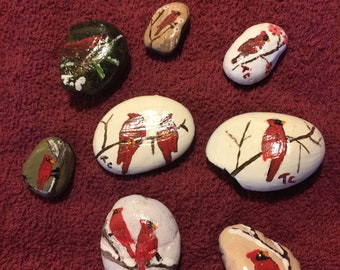 hand paint birds cardnals on rocks set of 8