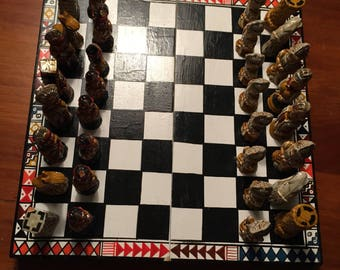 Hand Made and Painted Mesoamerican Chess Set