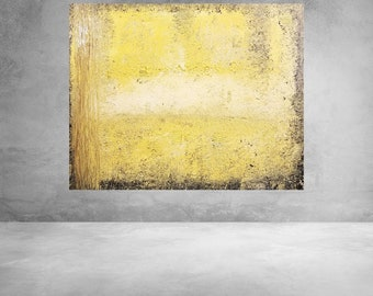 Modern Abstract Painting Canvas House Home Yellow Brown Black Contemporary Large Wall Hanging Made To Order
